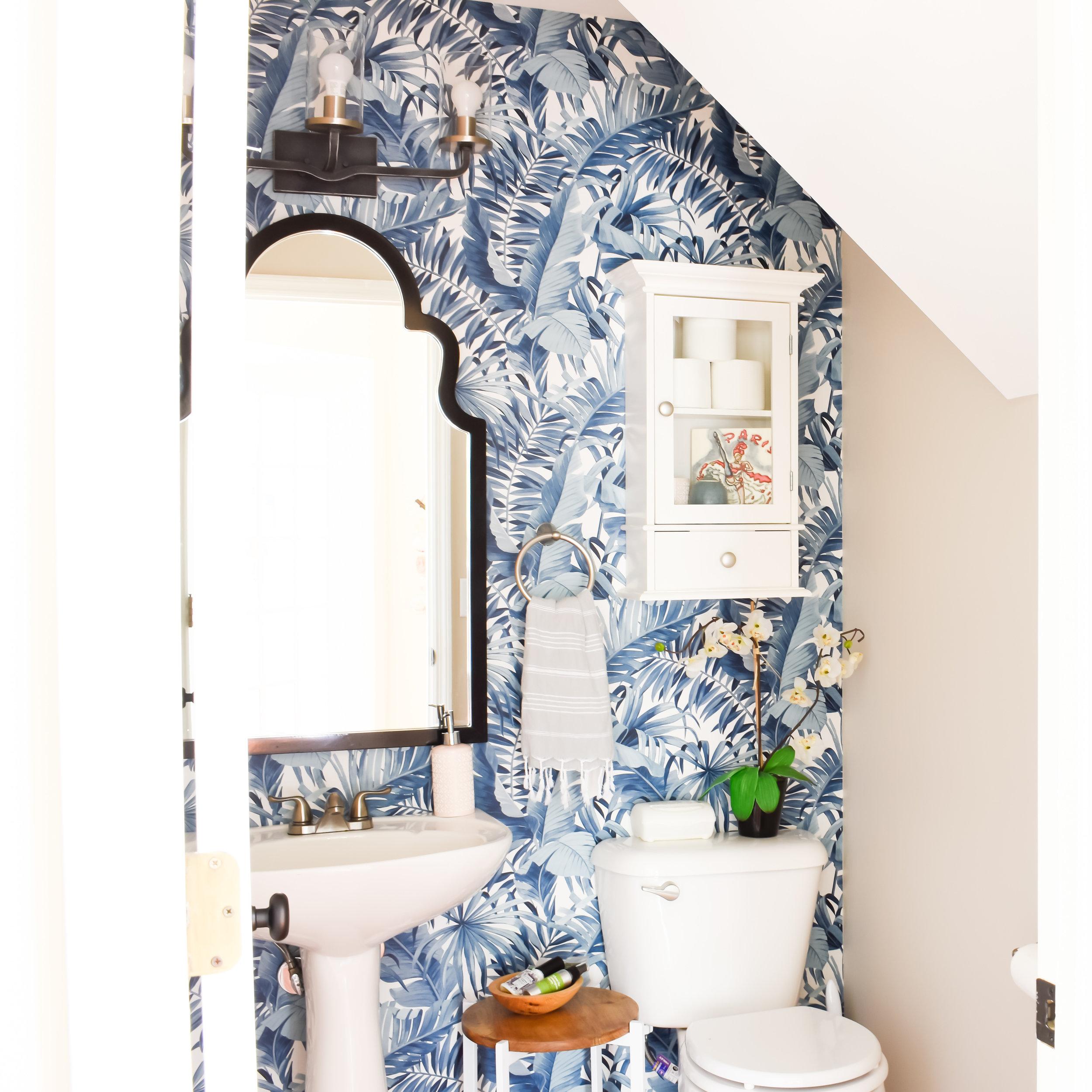 powder room navy blue palm leaf wallpaper.jpg