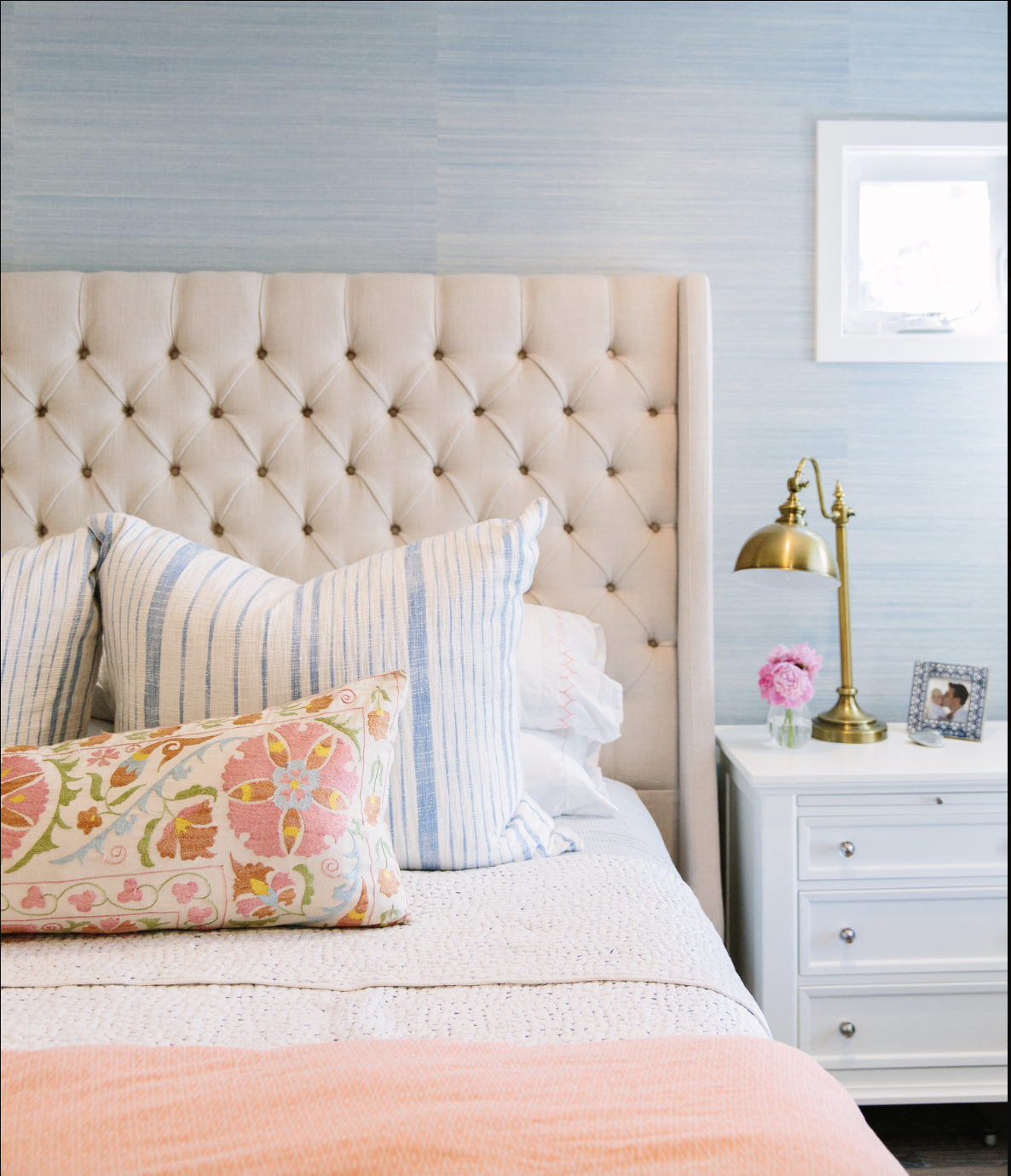 calming stylish master bedroom with blue grasscloth wallpaper.png