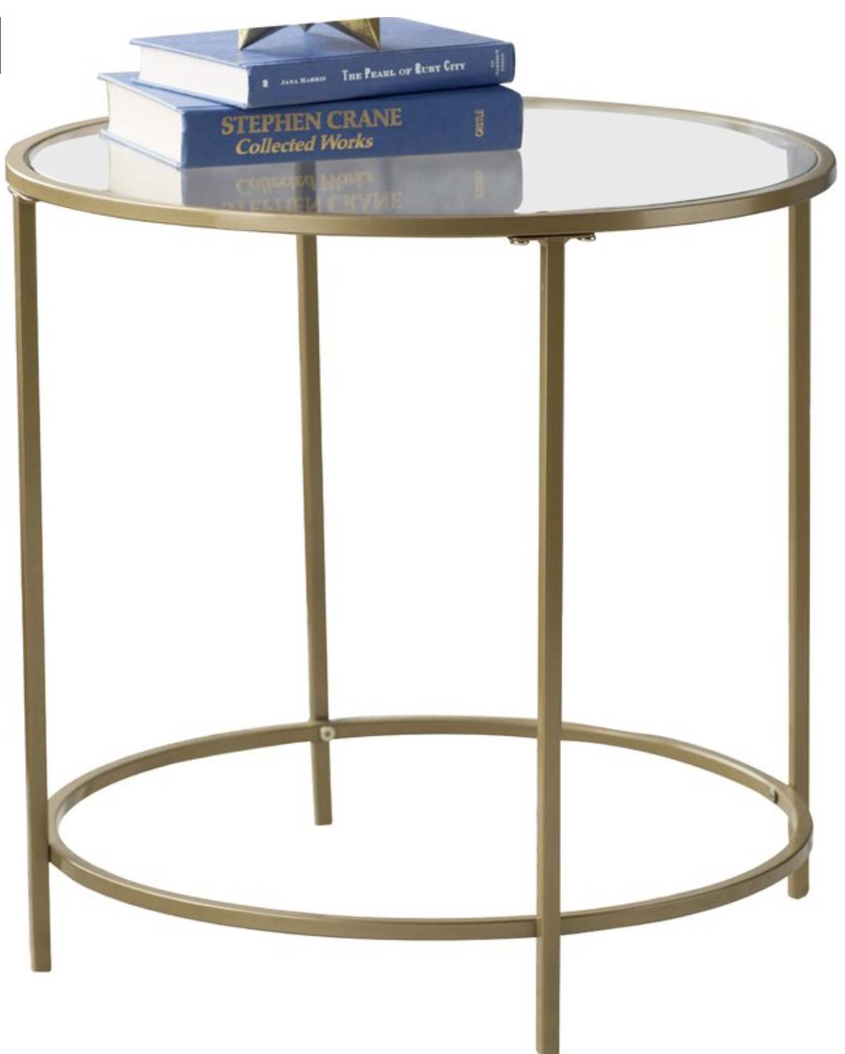 pottery barn style gold and glass side table for less