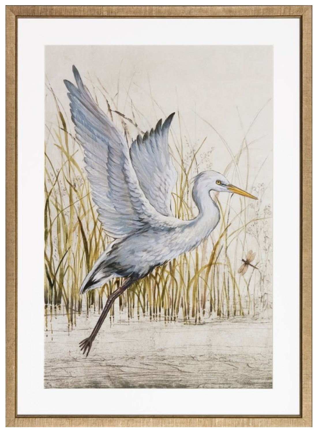 pottery barn style gold framed heron artwork