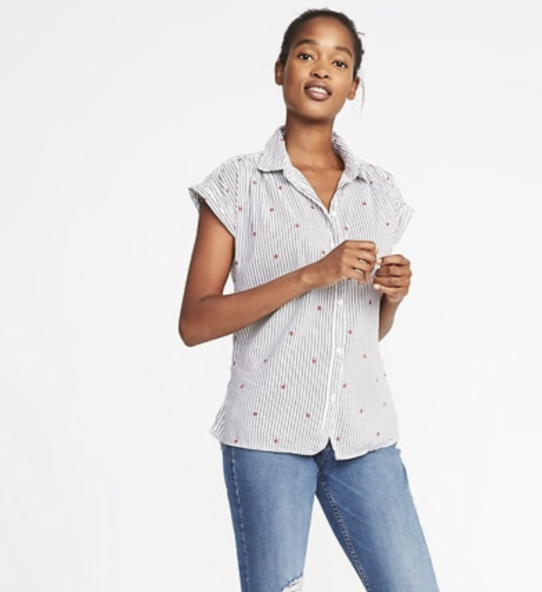 relaxed button down top with strawberry print