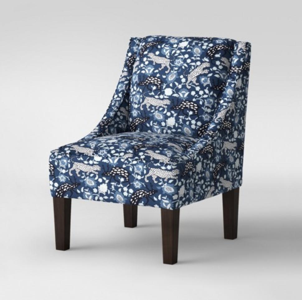 fun printed fabric side chair blue