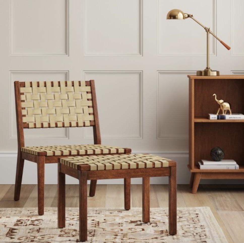 textured weave modern side chair