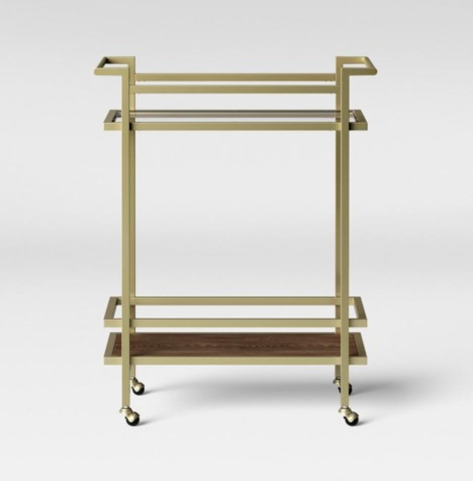 modern gold bar cart