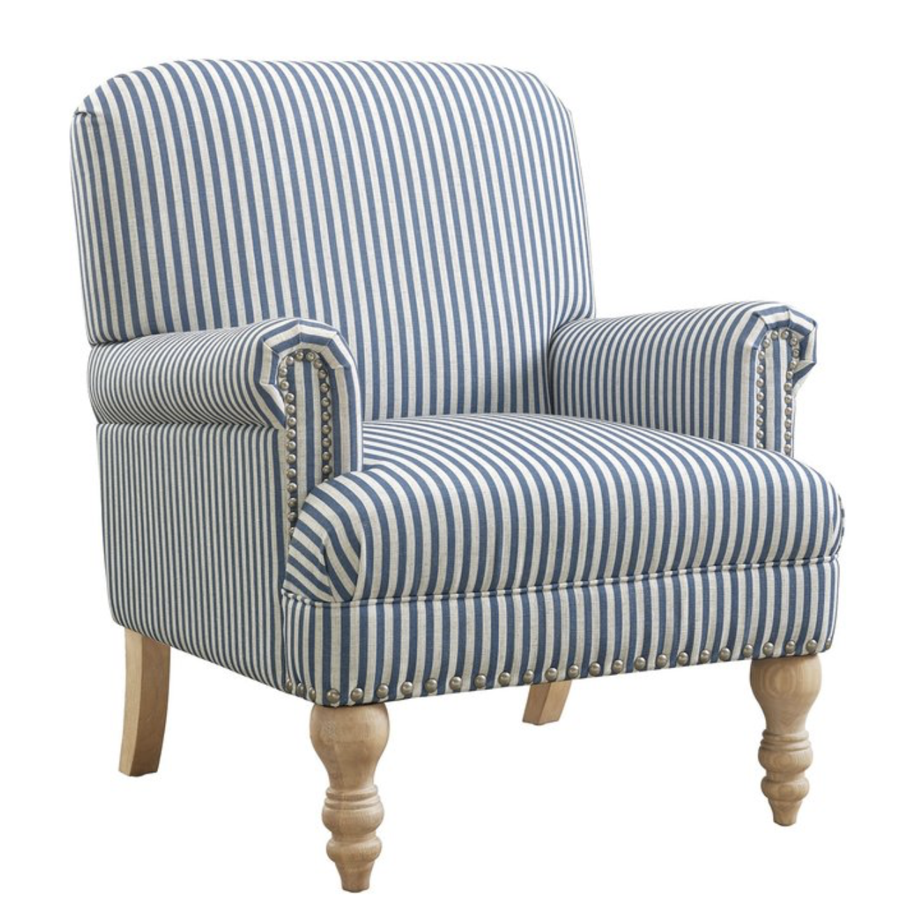 striped armchair blue and white Serena and lily affordable