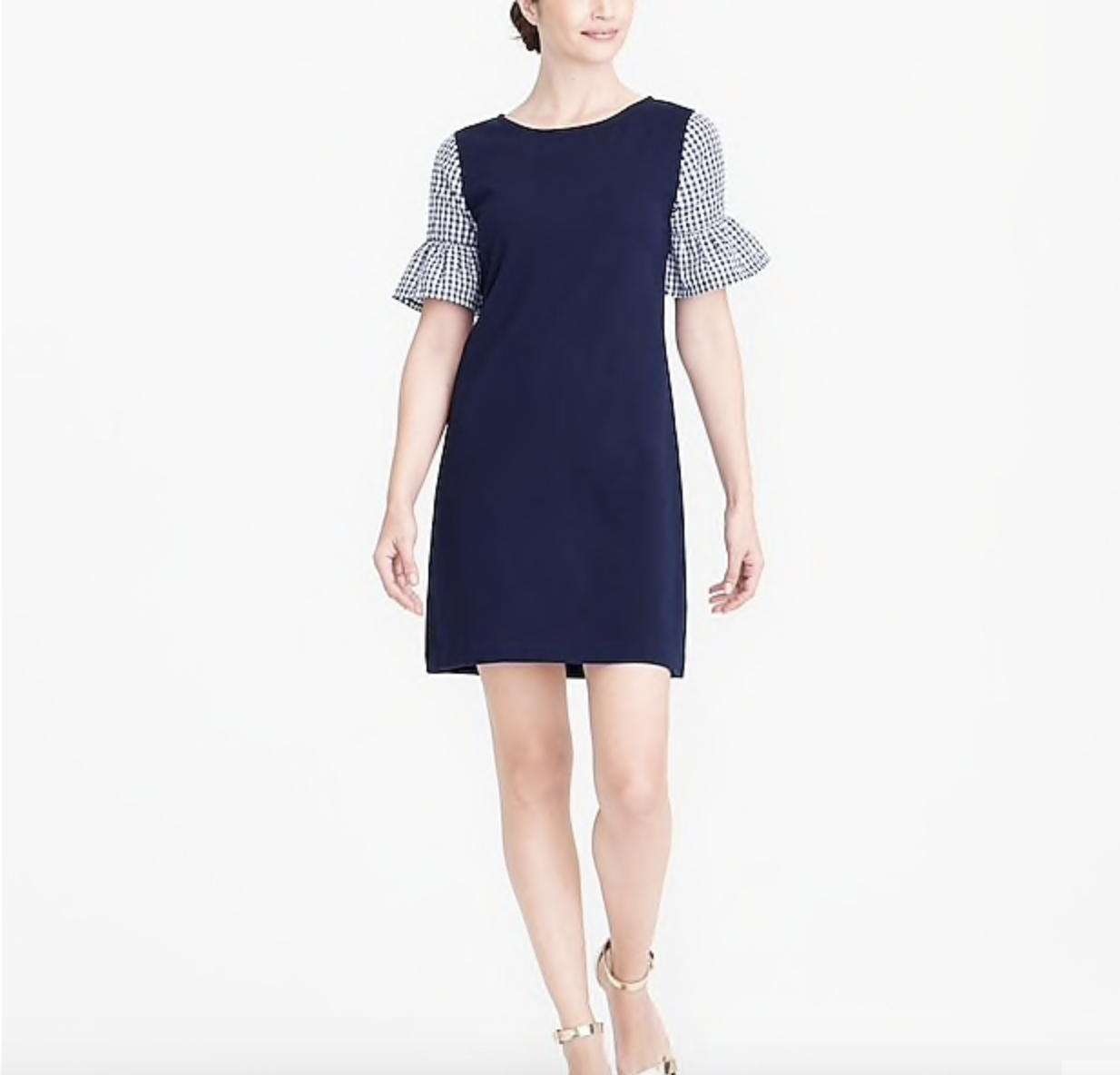 fashion deals gingham sleeved dress