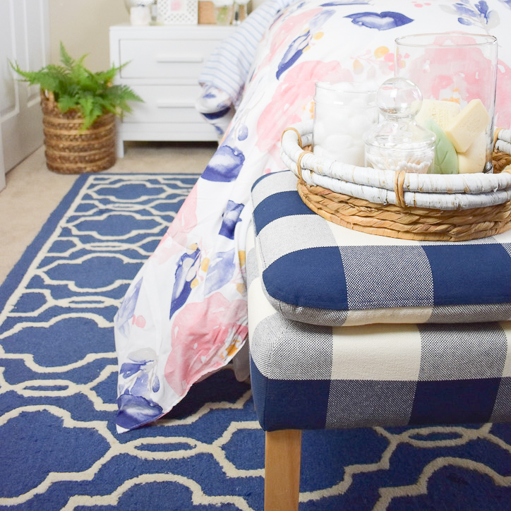 blue and white trellis rug