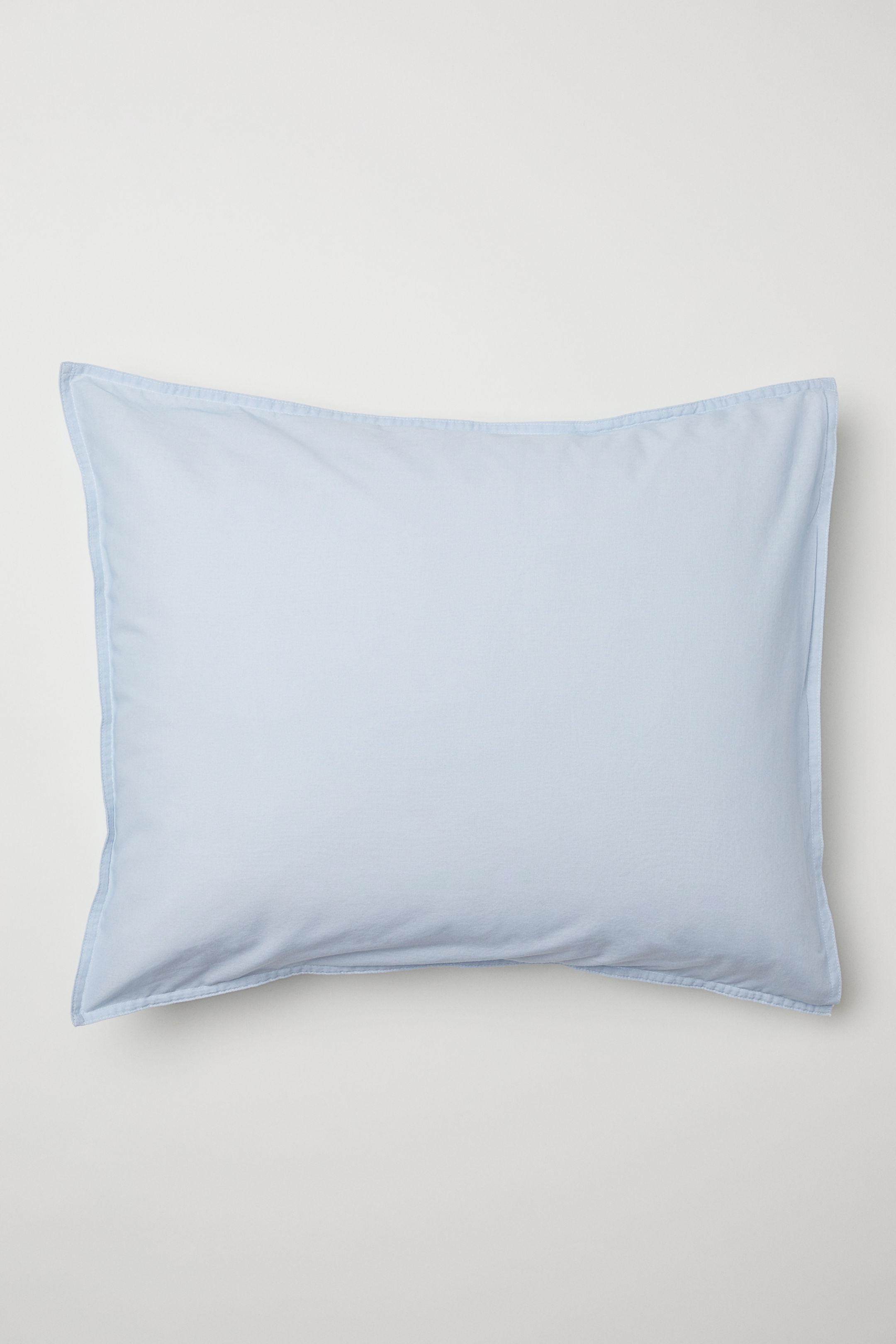 washed cotton pillow case blue