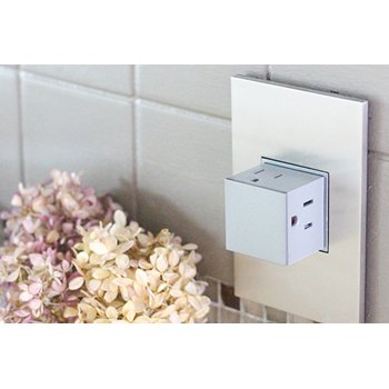 """Modern technology allows for outlets that will lay flat and """"pop out"""" when needed. These are perfect for backsplash installations, for a crisp concealed look."""