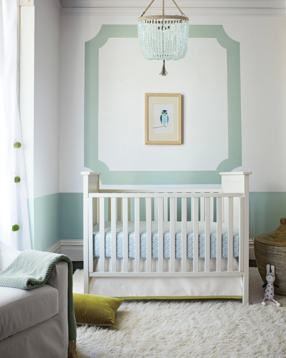 gender neutral nursery with green