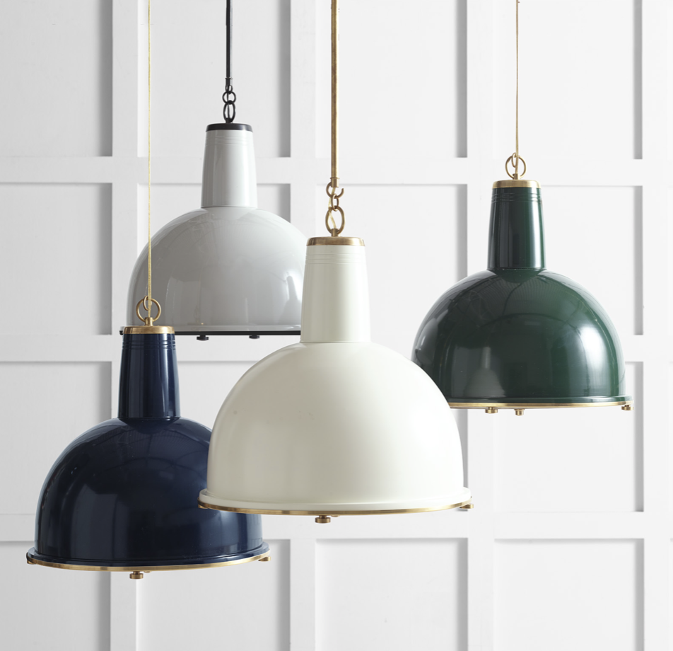 vintage look industrial lights with brass accents - perfect for a historic renovation