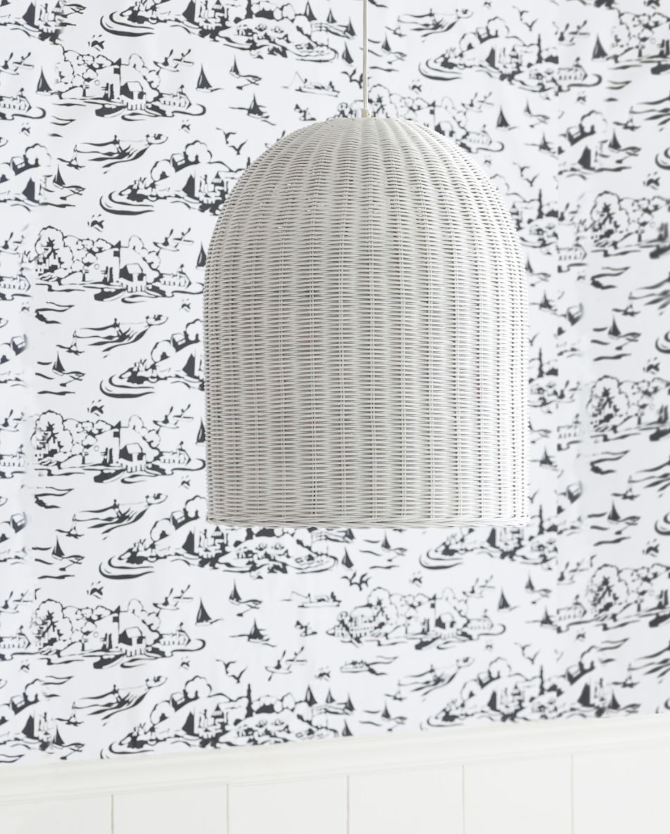cottage decor lighting - love this white basketweave pendant for a kitchen nook or bedroom