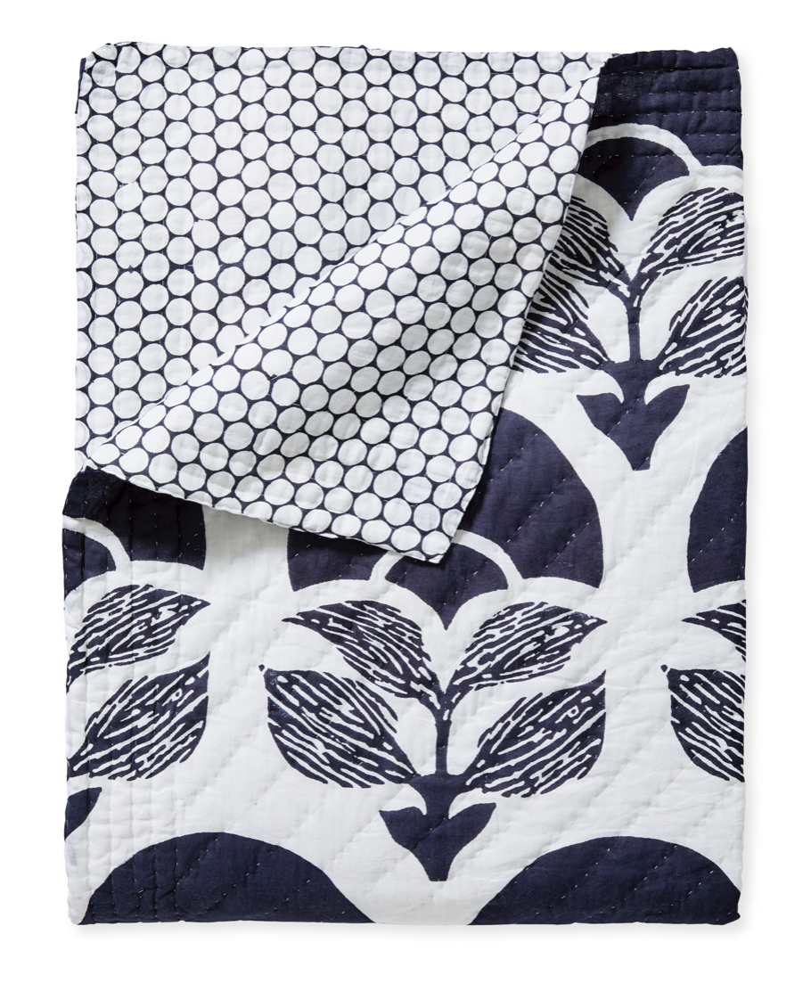 navy and white quilt