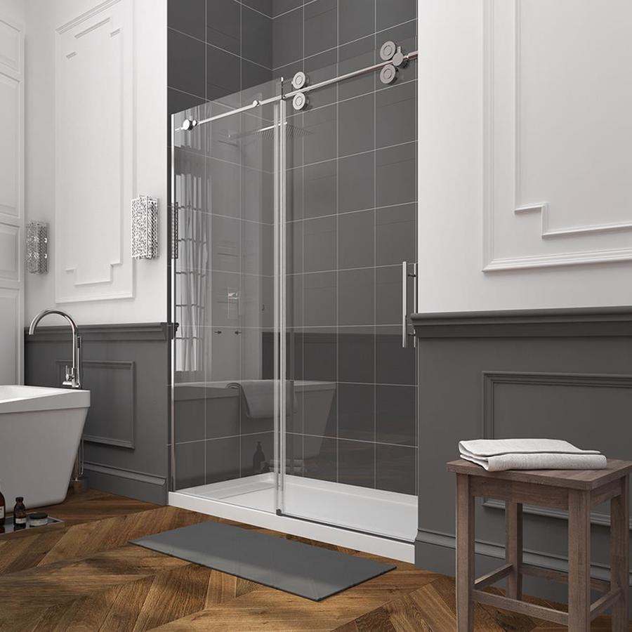 traditional bathroom with frameless shower door