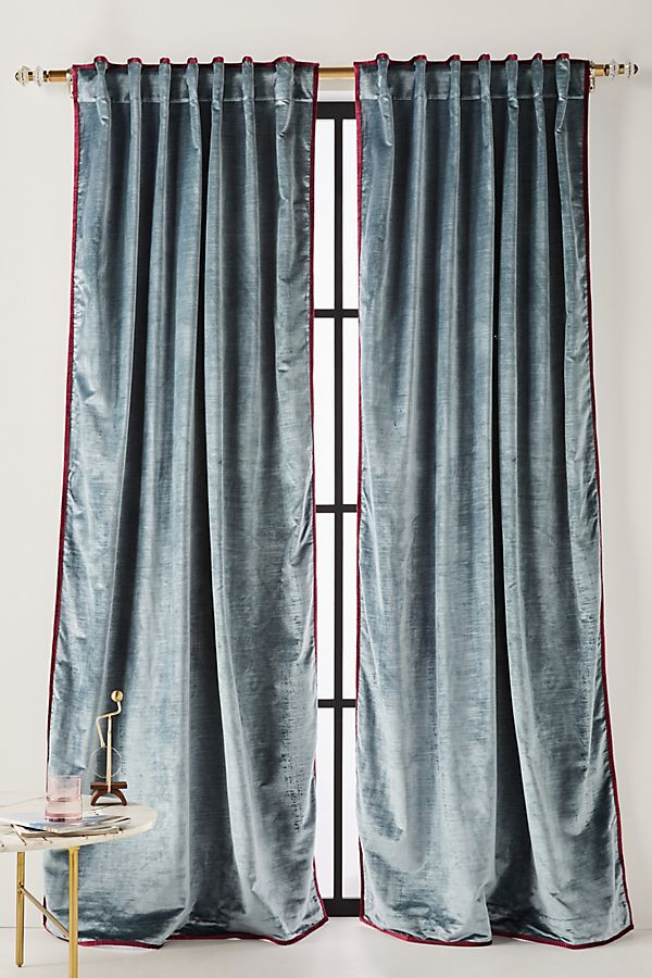 velvet curtain panels in blue for an upscale bedroom or dining room