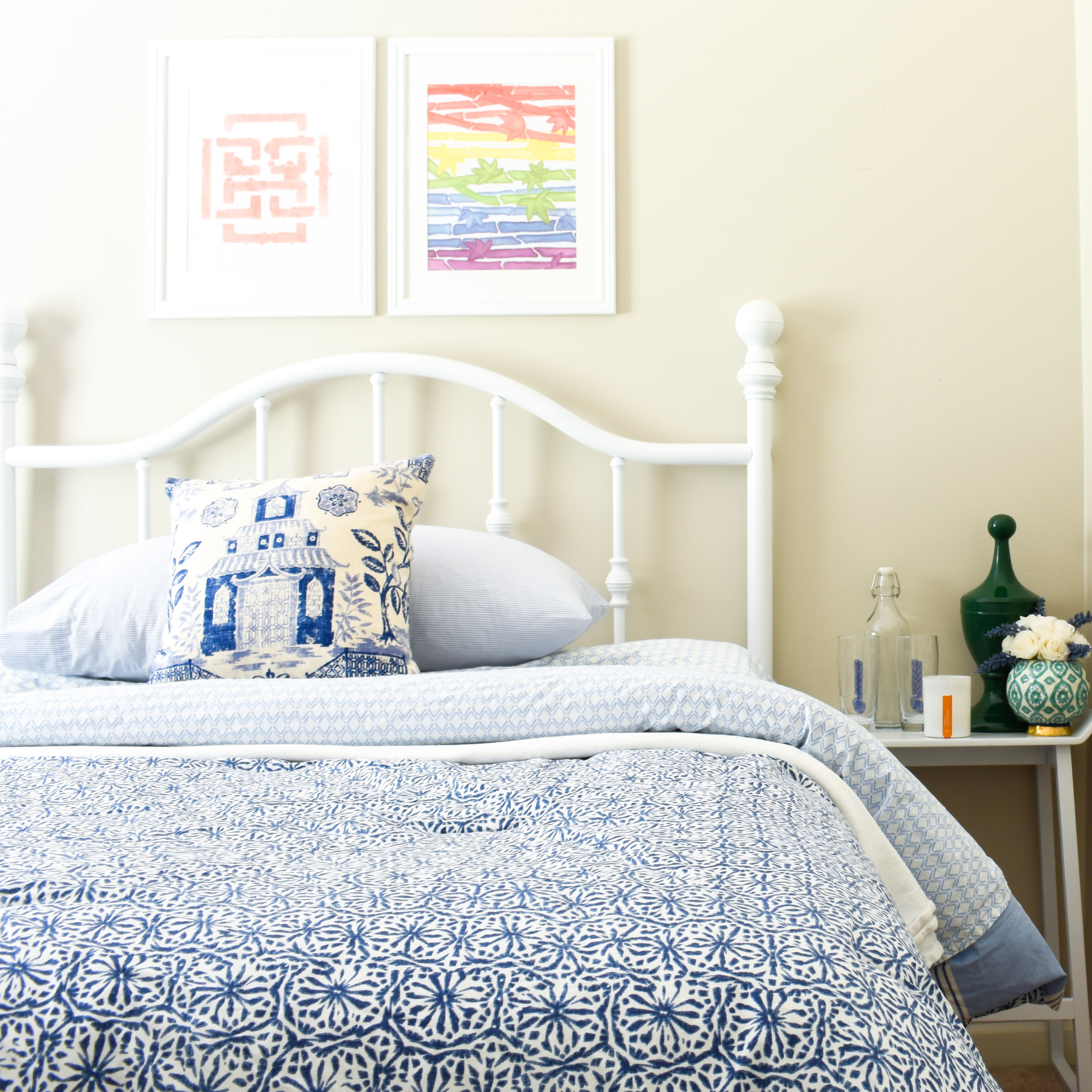 color and pattern set the stage for fun in this small bedroom