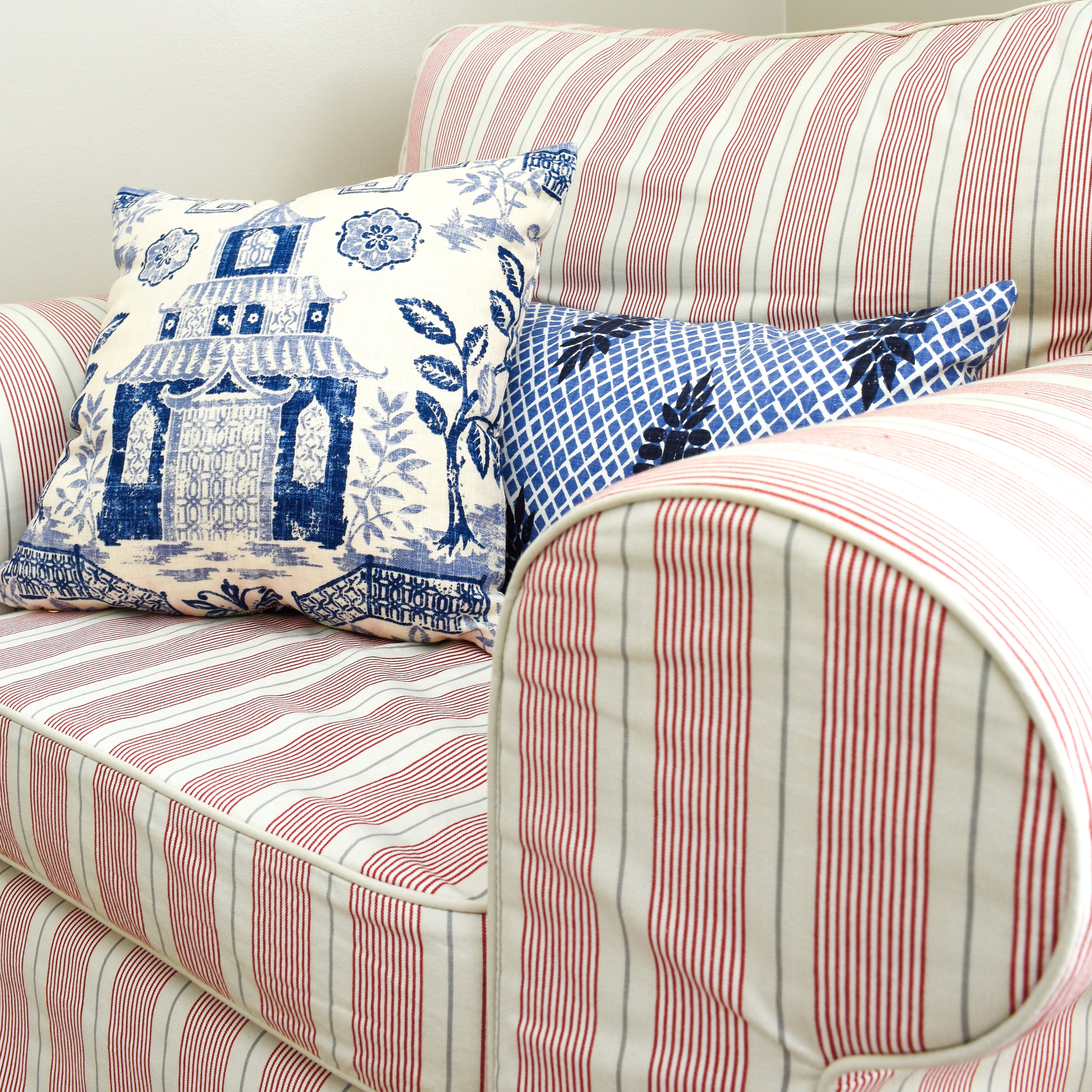 mix patterns and contrasting colors to add interest in your home decor