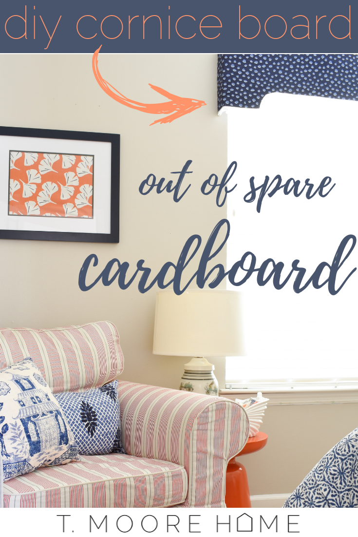 DIY window treatments - build a cornice box out of cardboard and scrap fabric