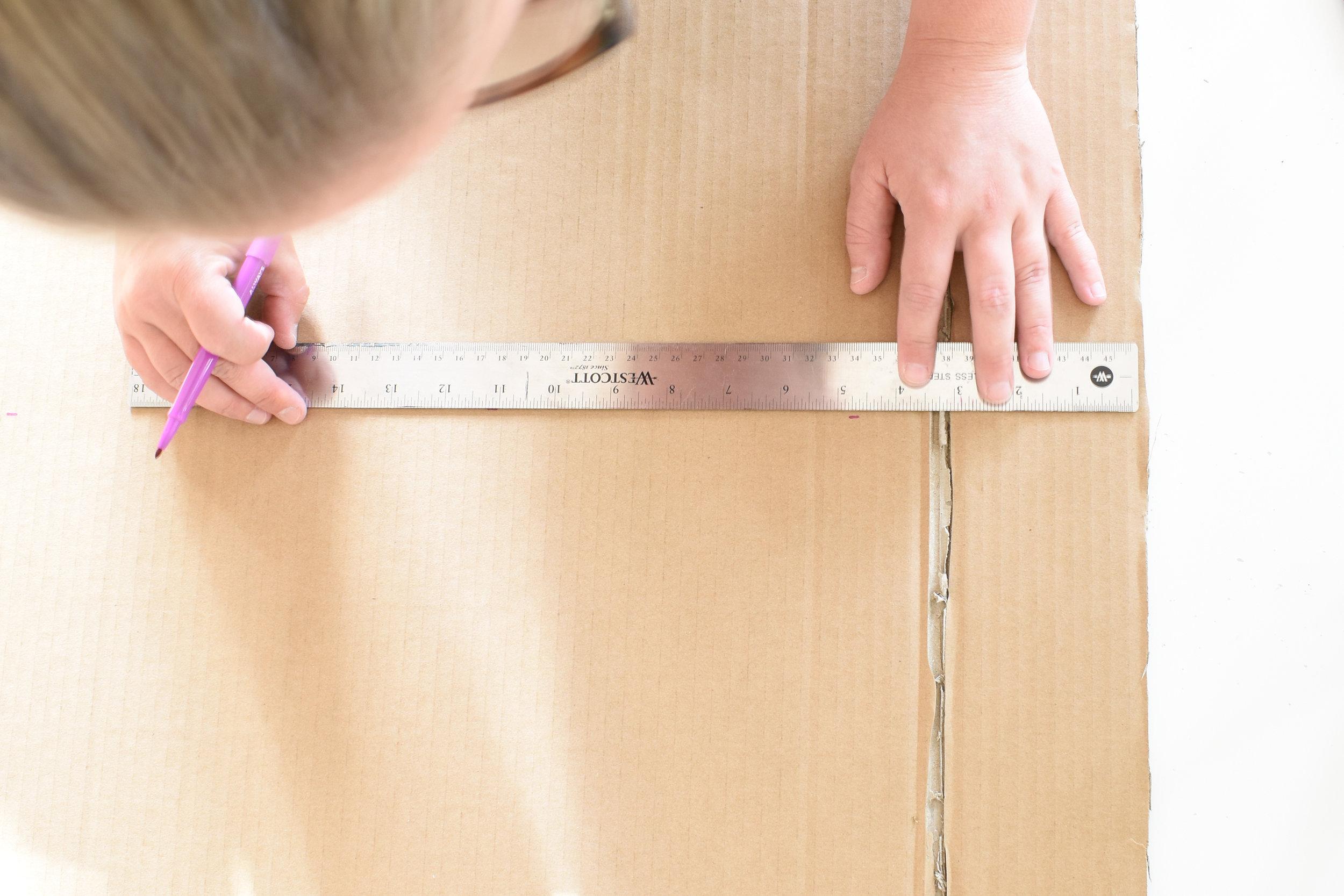measuring for your DIY cardboard cornice board