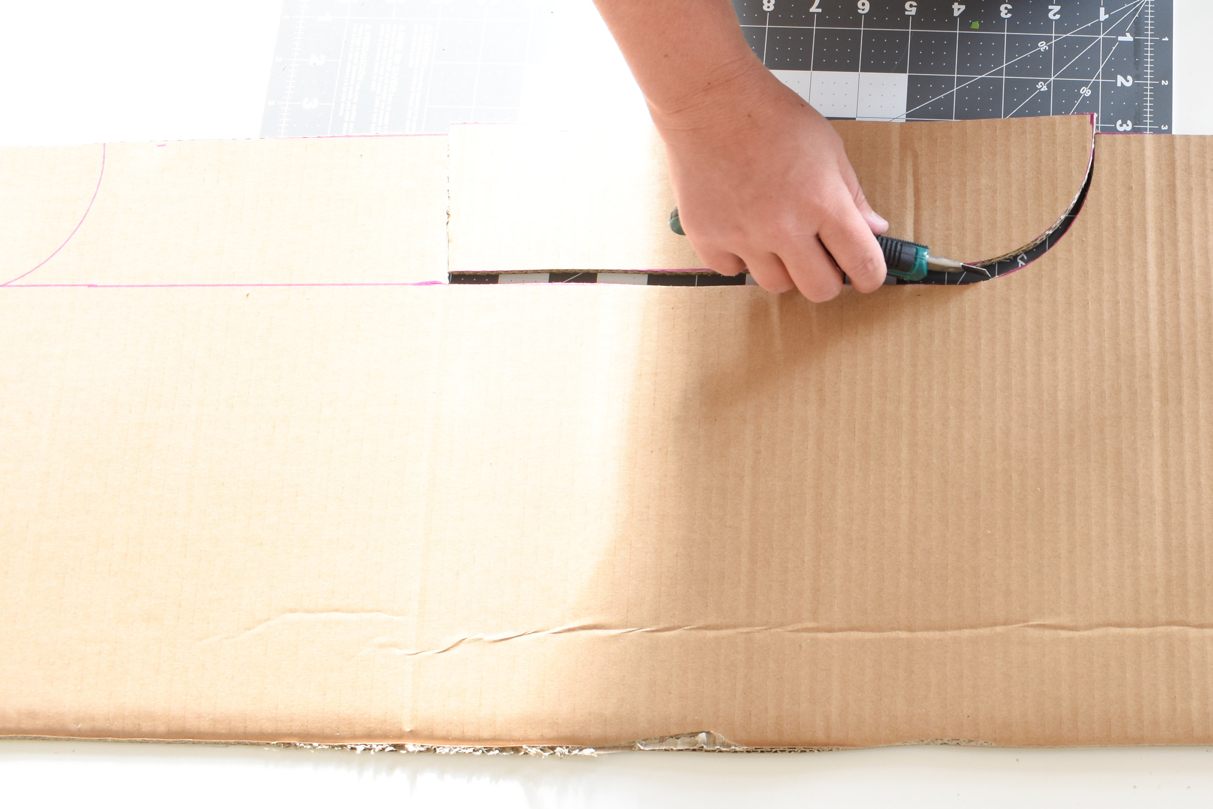 removing the arch portion from your DIY cardboard cornice board