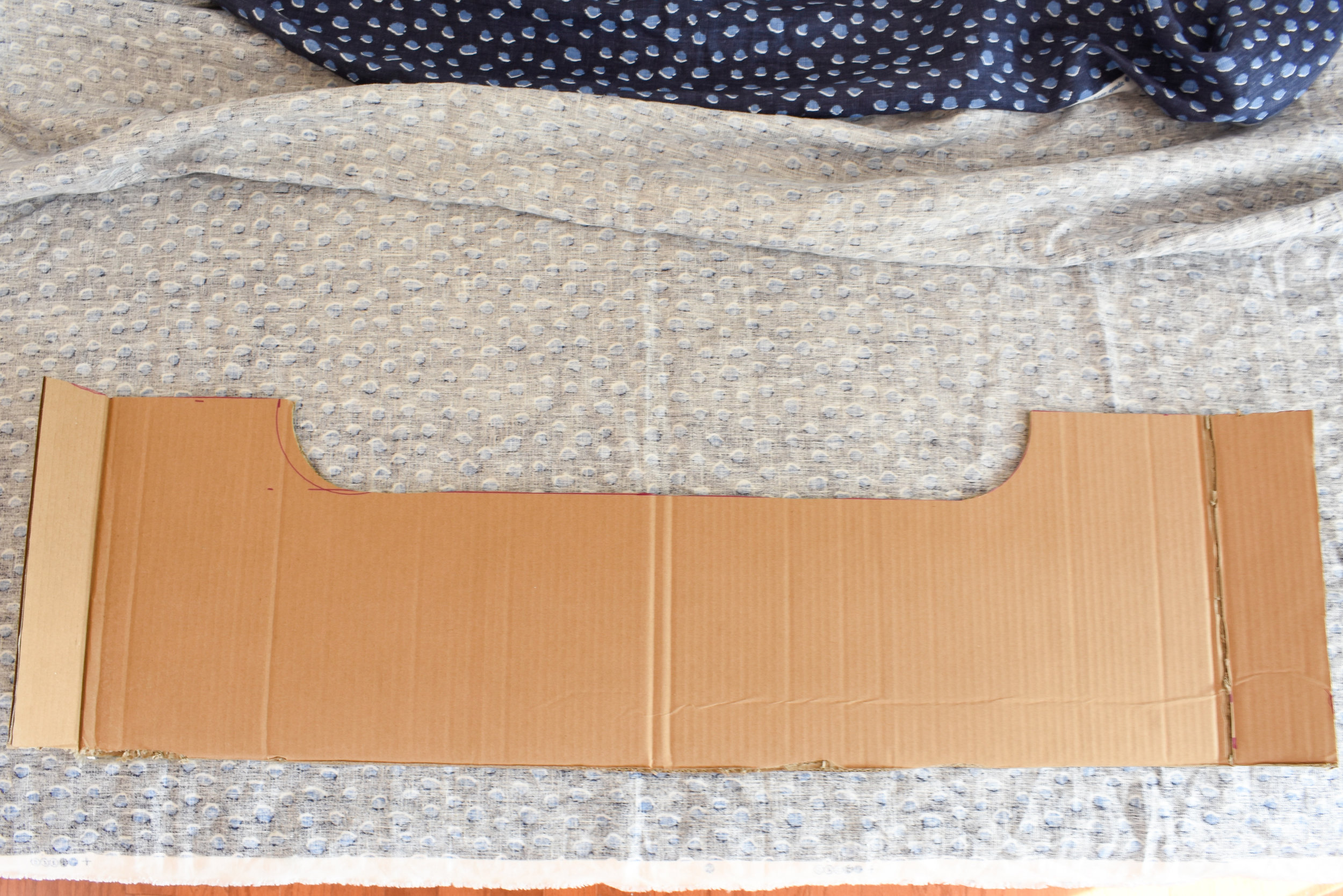 glueing fabric to cardboard for your DIT window cornice