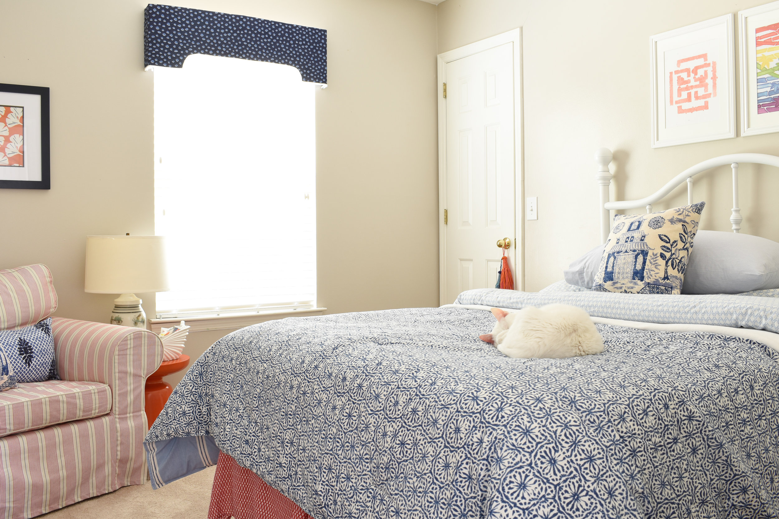 chinoiserie style - this colorful bedroom with mixed textiles creates a fun space for guests to relax