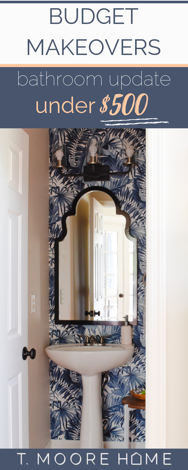 budget bathroom makeover under $500 with wallpaper - powder room wallpaper just makes me happy every time