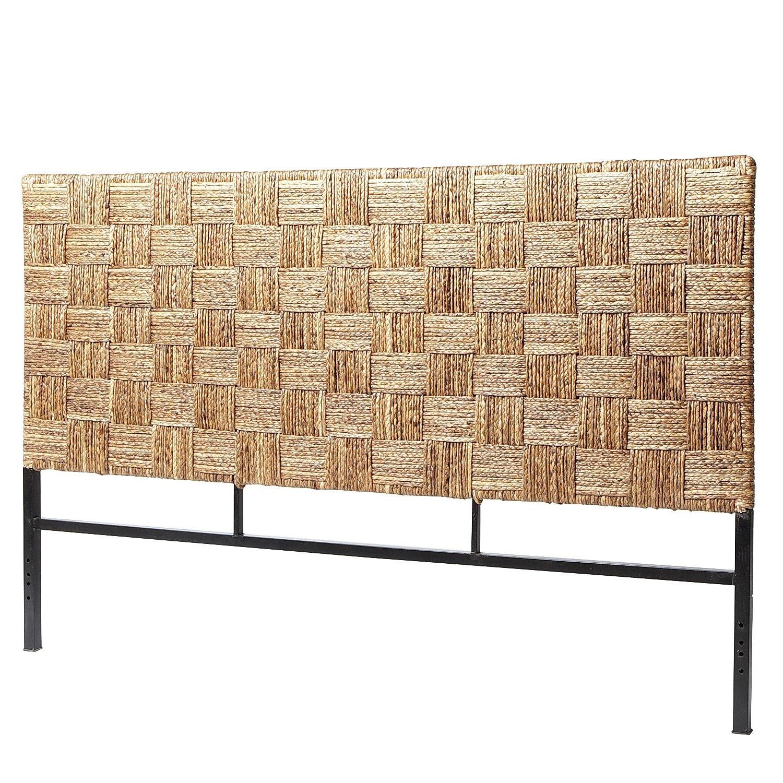coastal bedroom - woven seagrass headboard
