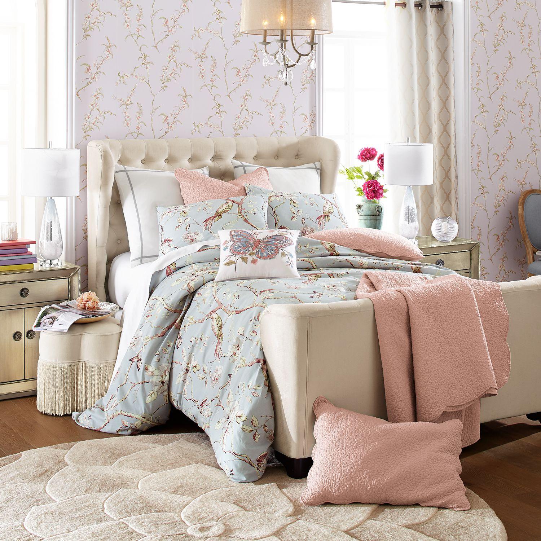 elegant master bedroom decor in blue and pink