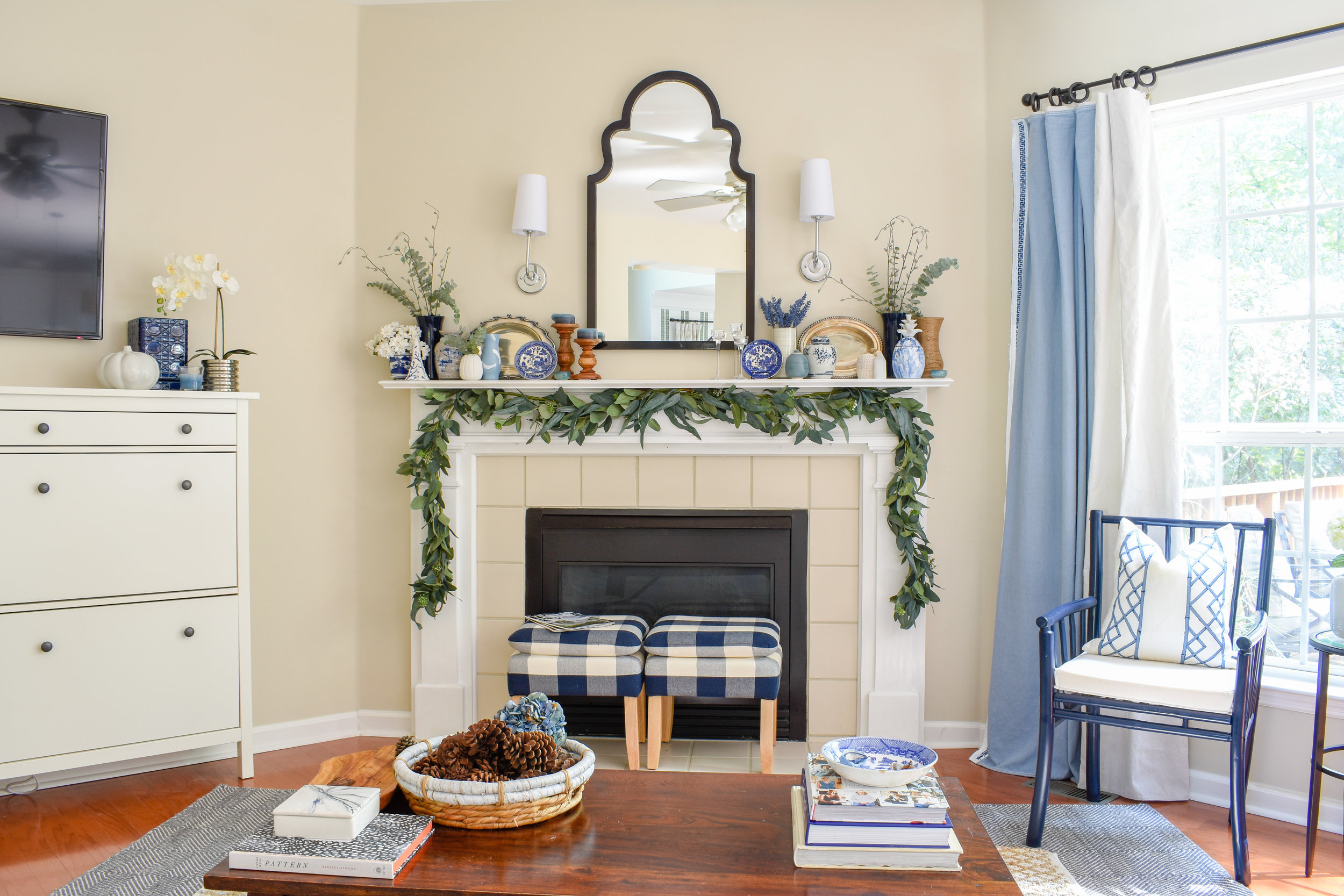 neutral fall living room decor on a budget