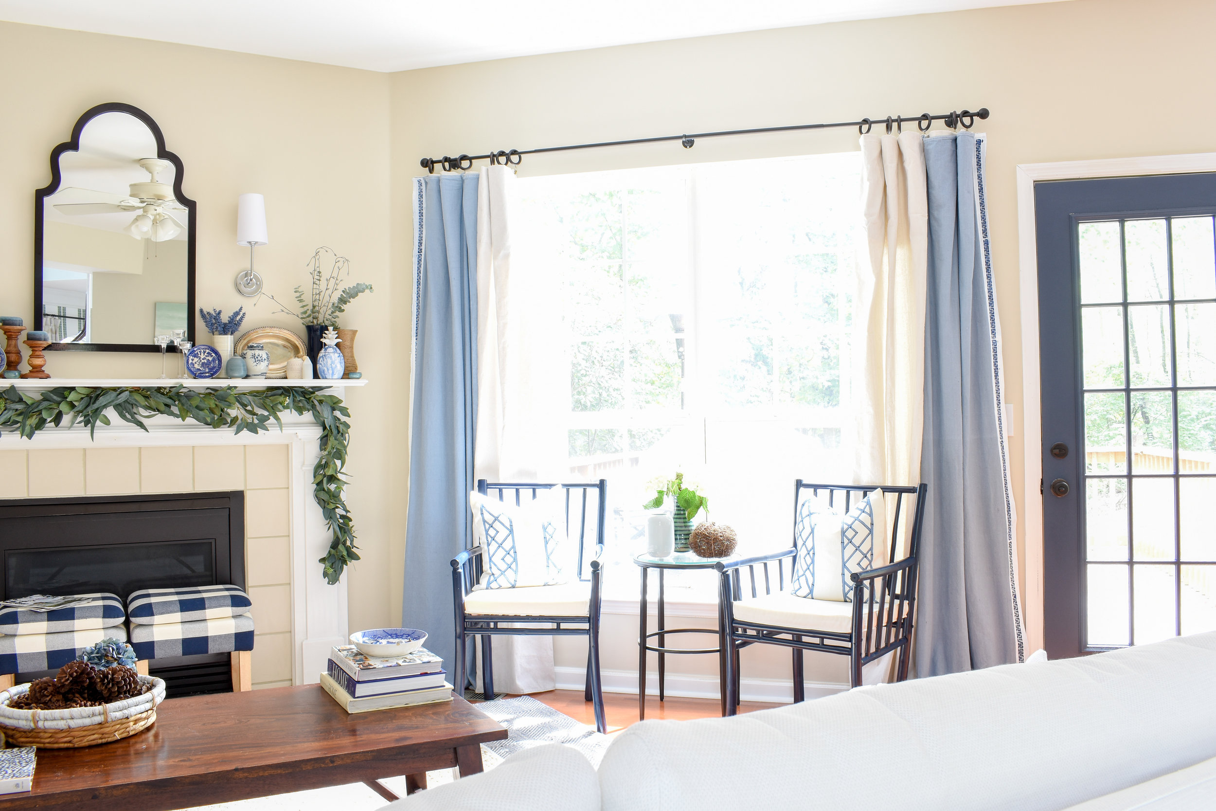 blue and white home decor for fall and winter