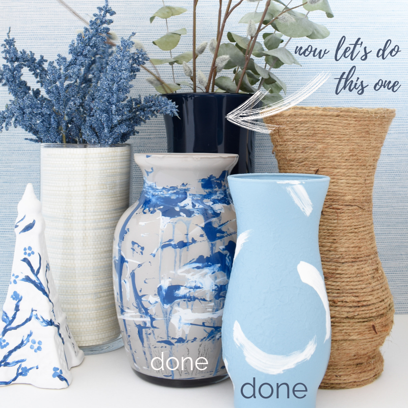 DIY painted vases from the dollar store in 3 steps or less #diycrafts #diyhomedecor