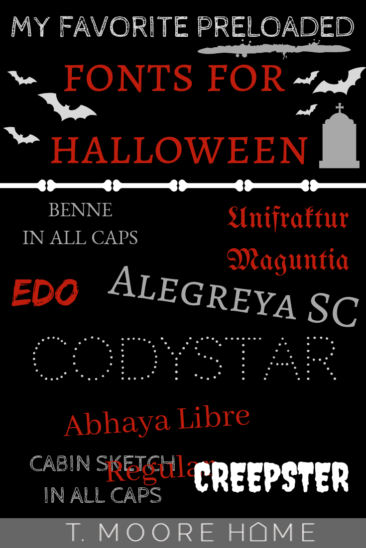 halloween invitations and signage - creepy fonts