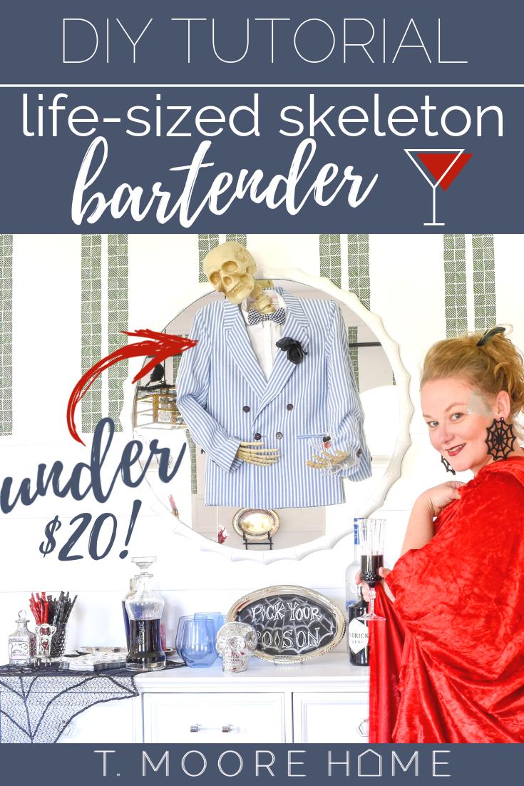 DIY Halloween decorations - skeleton bartender