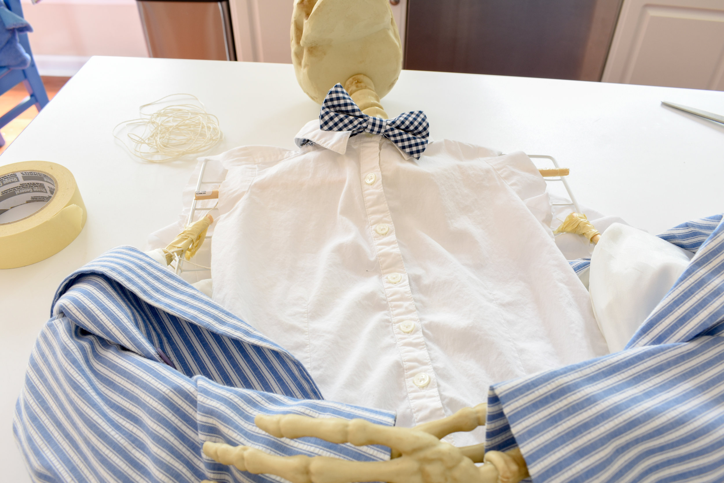 DIY halloween - skeleton in a suit coat - he's very dapper - and easy to make!