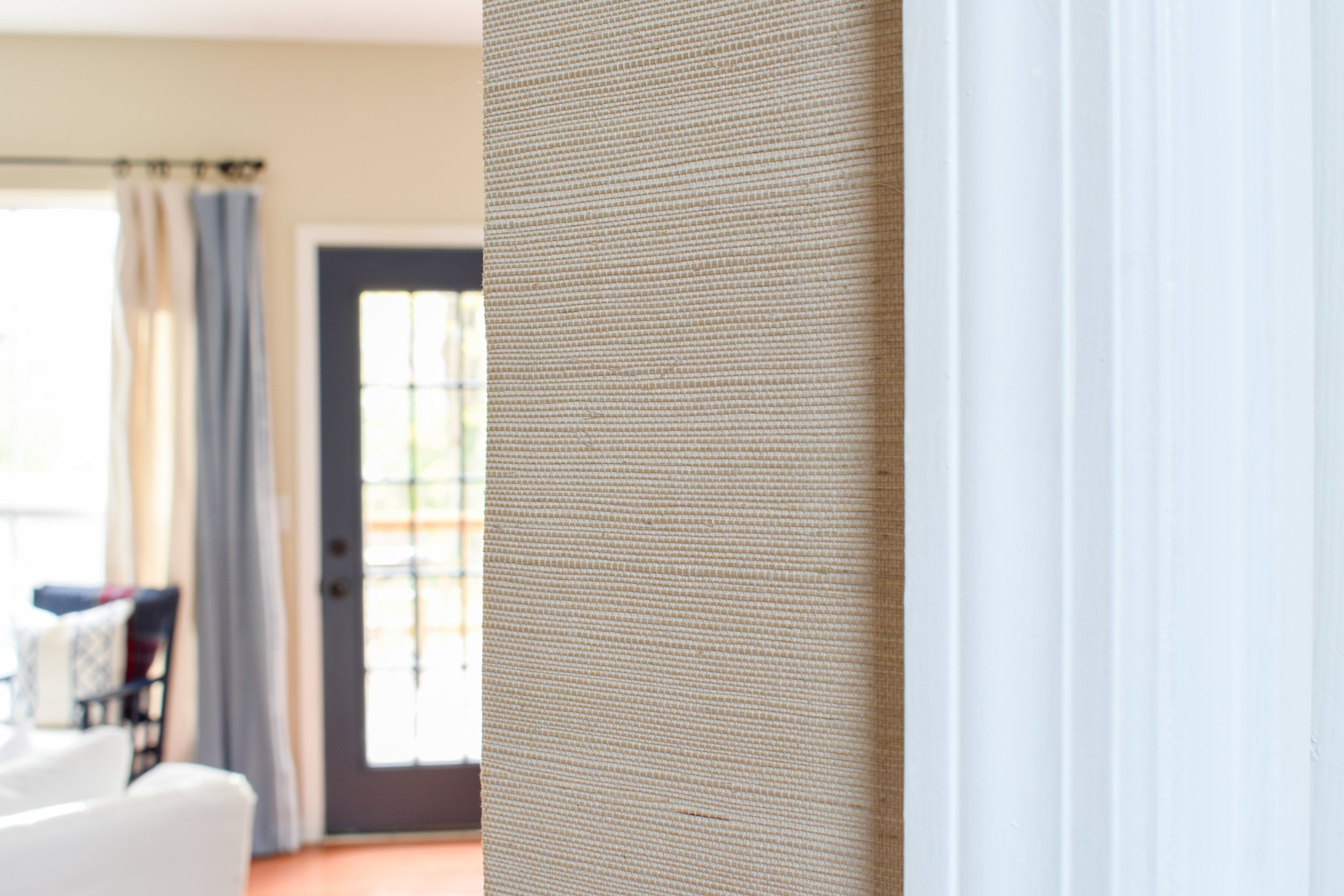 beige grasscloth wallpaper installation