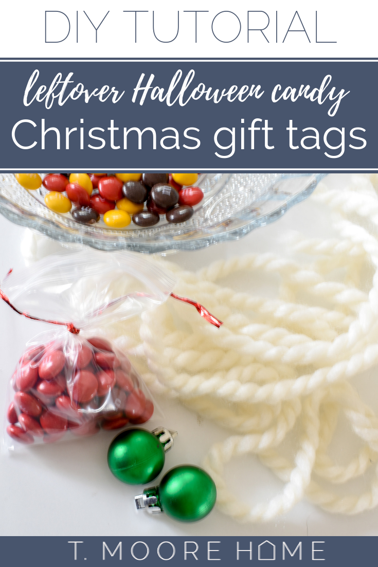 DIY Christmas gift tags or stocking stuffers (or even gifts for coworkers) using leftover Halloween candy!