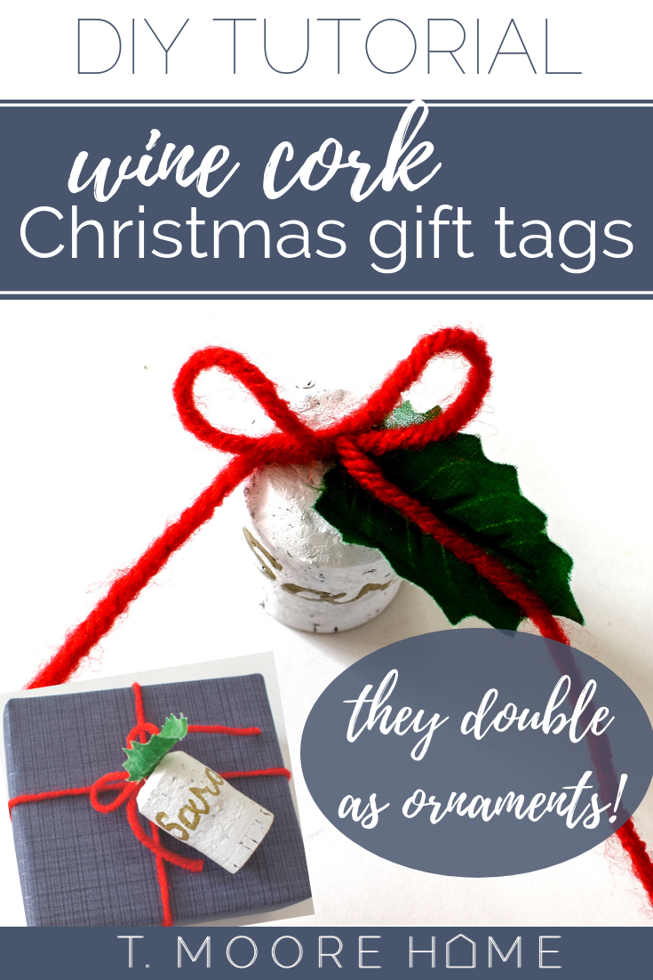 DIY Christmas ornaments or gift tags made from wine corks