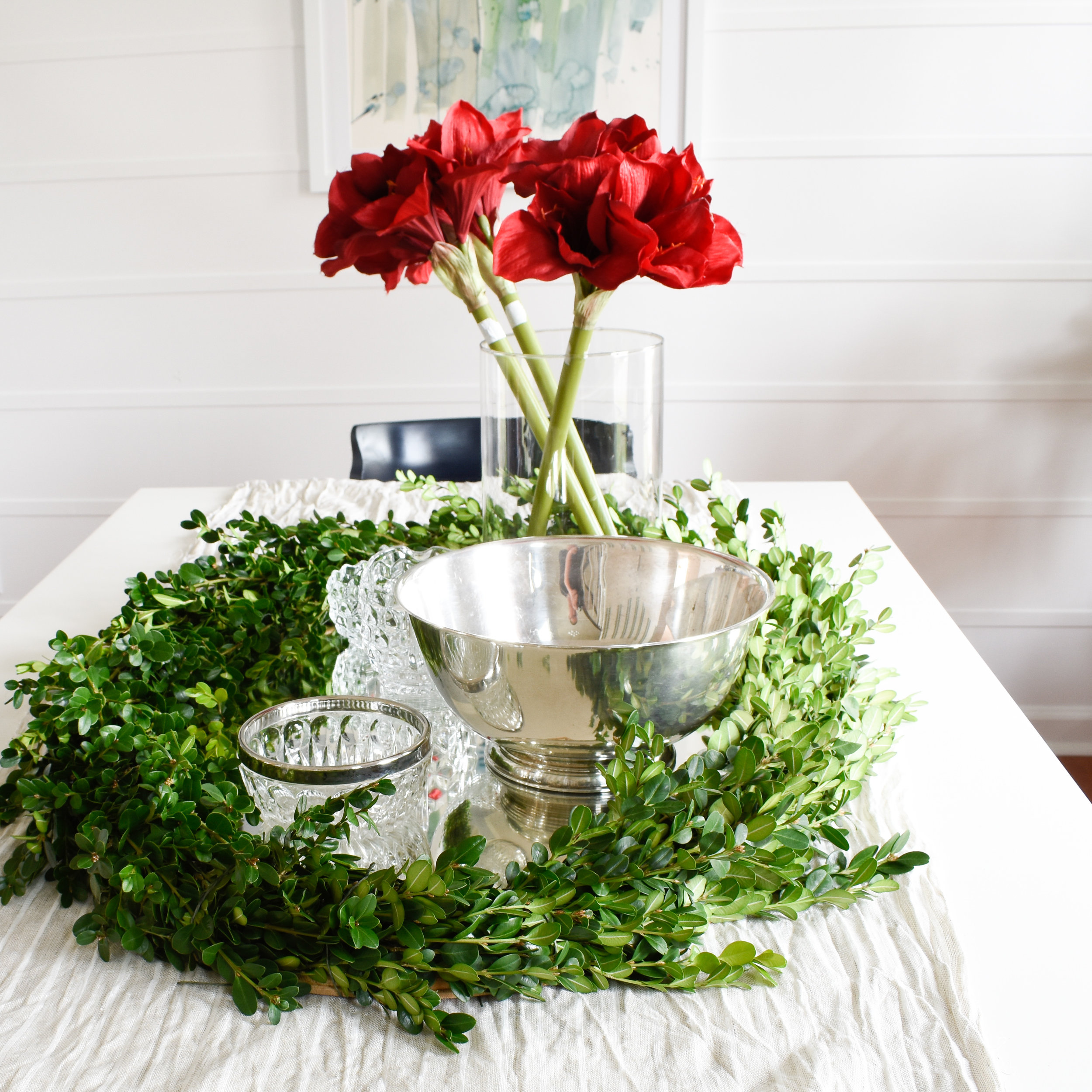 DIY Christmas table centerpiece with boxwood yard clippings