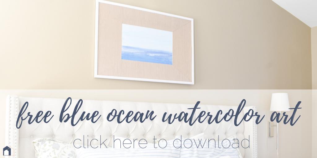 Free Watercolor Ocean Art Print + DIY Tutorial for Custom Framing Mats