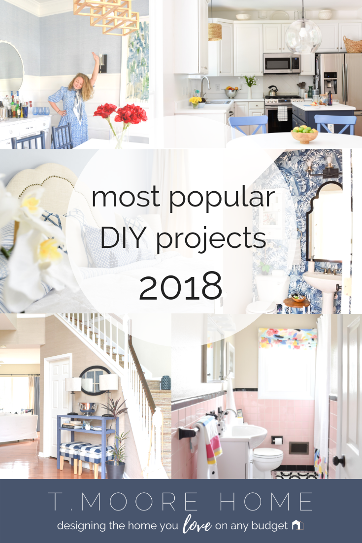 Top DIY Home Decor + Renovation Projects of 2018 | From weekend bathroom makeovers to full-scale staircase reconstruction, 2018 was a busy year over at T. Moore Home.  In case you missed all the tutorials and money-saving DIY tips, I'm rounding up the most popular projects we tackled this year. Including everyone's favorite project - my $10 DIY no-sew curtains. #diyprojects