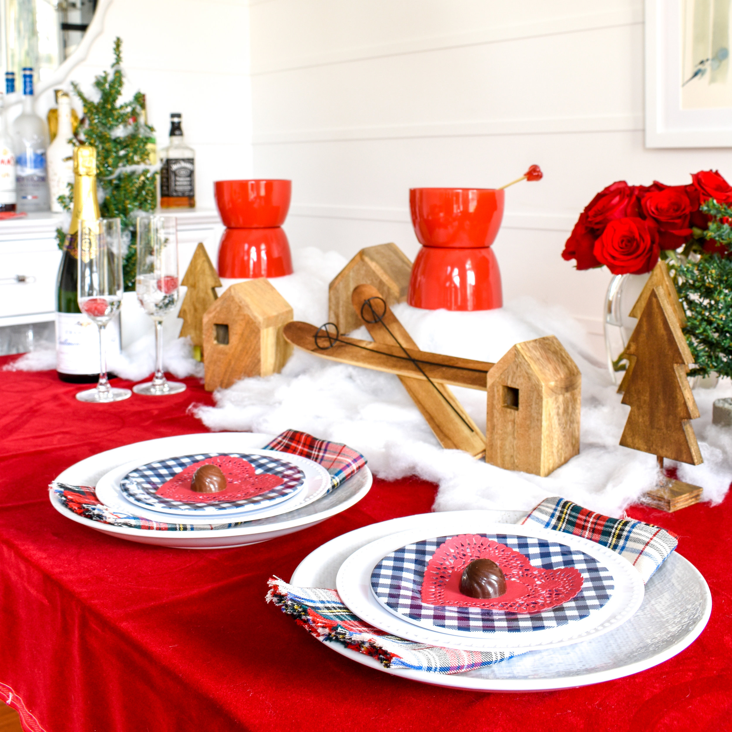A Romantic Ski Chalet: How To Re-Use Your Christmas Decor for Valentine's Day  I've left my Christmas decor up a little longer and really stretched its life by transferring it into this adorable - and romantic - chalet tablescape. Today I'm showing you how I DIYed it and how you can too!