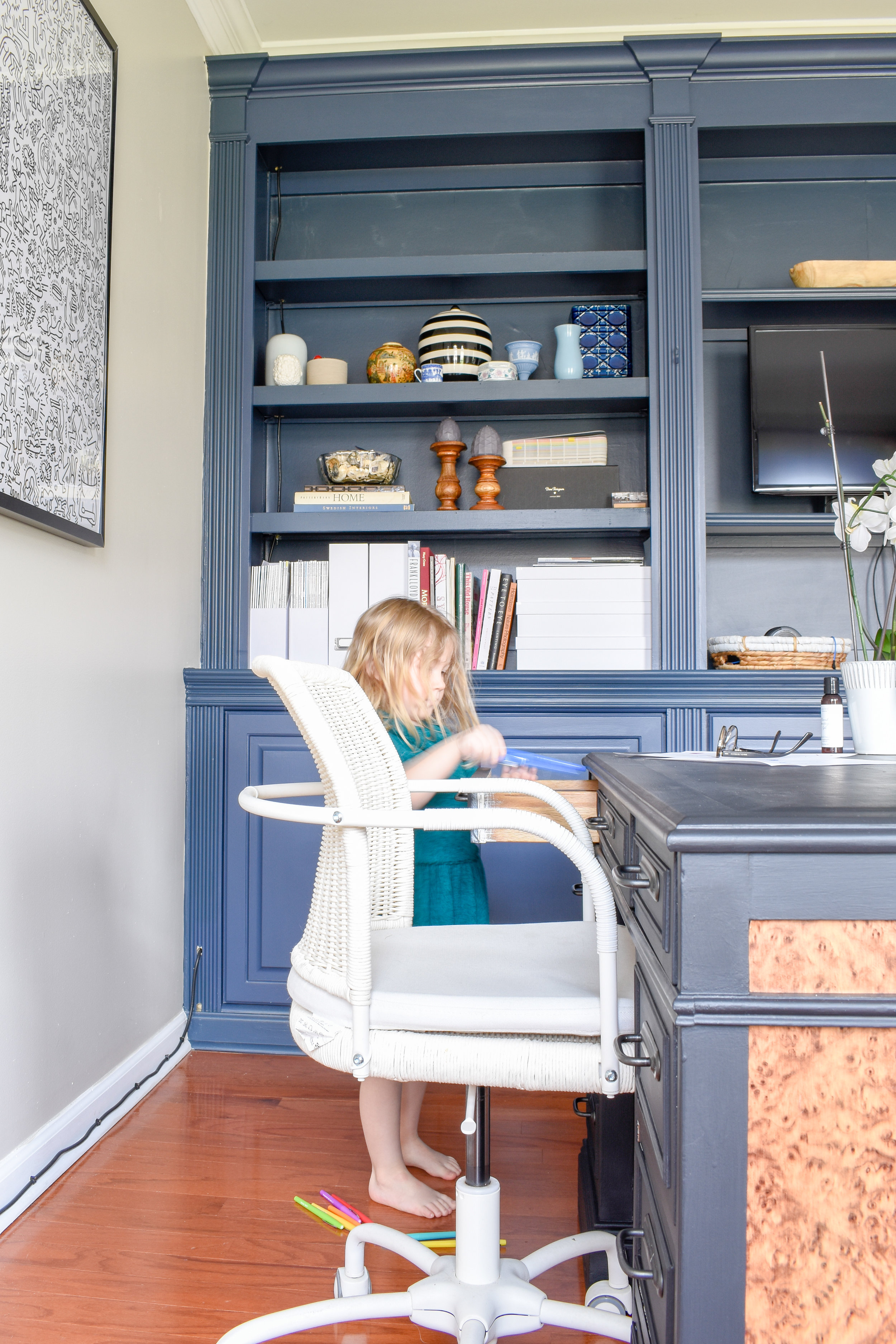 Shared Home Office Blending Decor Styles For A Space That Works Harmoniously T Moore Interior Design Studio