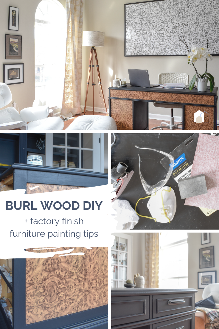 Furniture Hacks: Burl Wood DIY with contact paper - how to get the look of expensive burl wood for under $20 + my tips for achieving a factory finish without chalk paint! #furniturehacks #diyfurniture