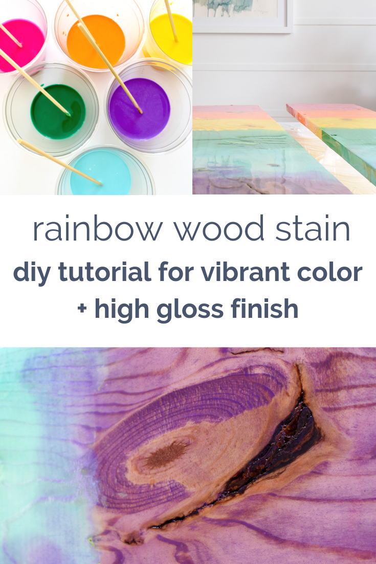 Colorful Wood Stain | How to achieve a vibrant color with a translucent stain that allows the wood grain to pop #rainbowstain #diydecorproject #diycrafts #woodstaintechniques #colorfuldecor