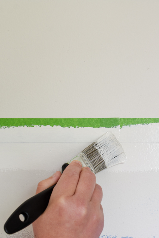 Painting Tips for straight line: Using upward strokes, (towards the seam of the painter's tape), paint the edge of the painter's tape in the wall color you used prior. Painter's tape will always bleed but when you apply the existing wall color BEFORE your accent color, you're insuring the bleed will blend.