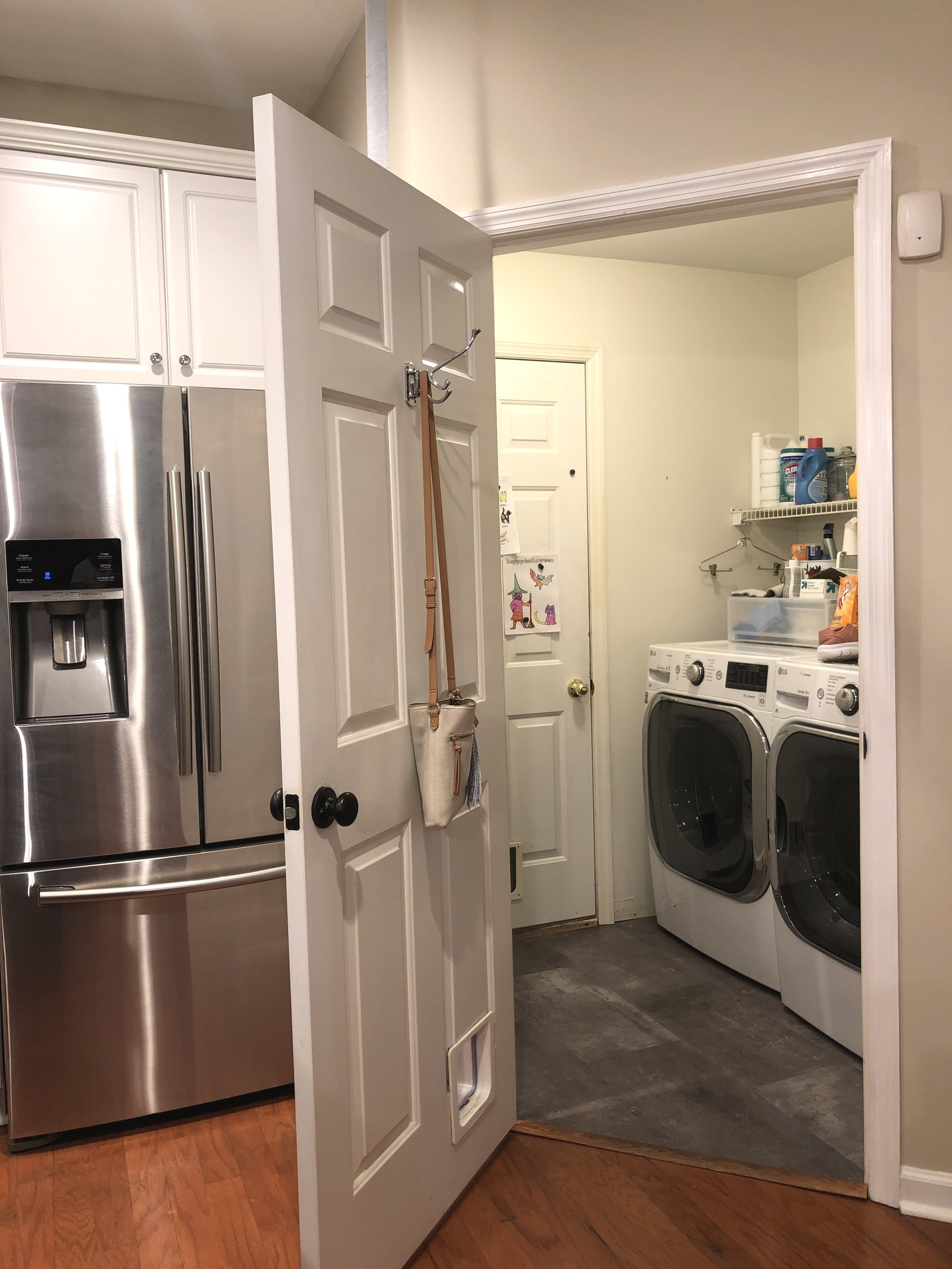 our tiny laundry room really should be a mudroom