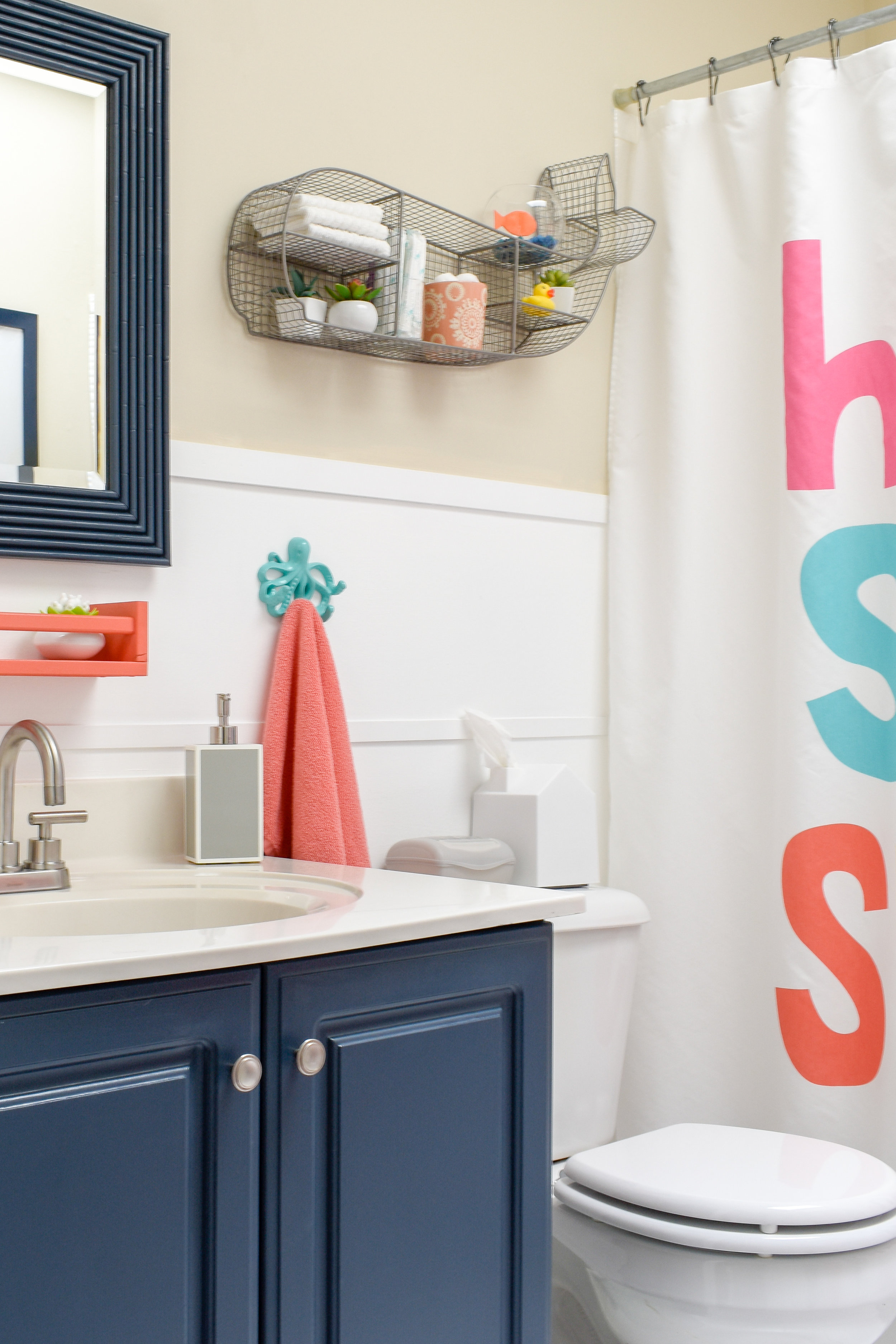 colorful kids bathroom renovation - here's what we were able to accomplish in just one day for less than $200