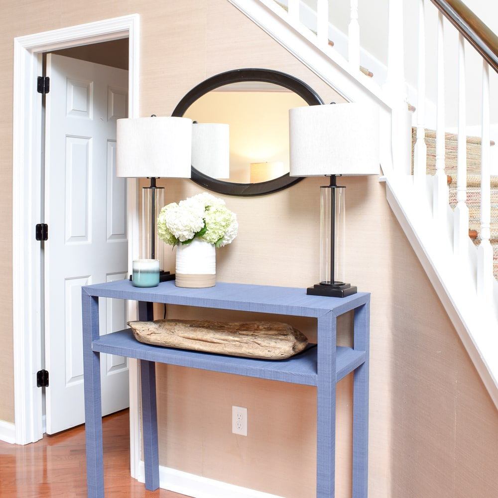 Serena And Lily Inspired Blue Console Table With Textural Wallpaper   An  Easy DIY Project That