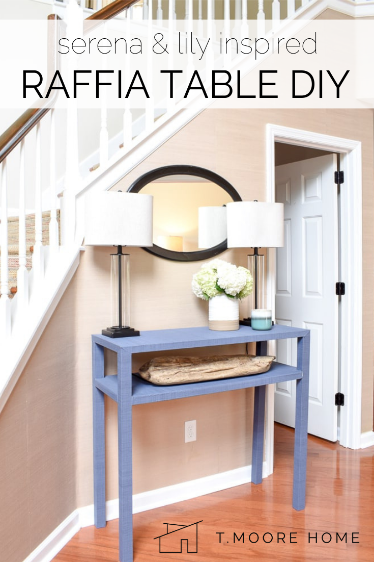raffia console table - inspired by the coastal designs of Serena & Lily, I built my own textural furniture for a fraction of the designer home decor brand's price.